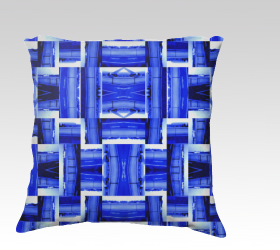 Suga Lane Jet Medley Modern Royal Blue White Geometric 22 x 22 Pillow