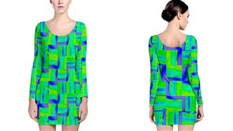 Suga Lane Jet Medley Neon Green Blue Long Sleeve Cocktail Dress