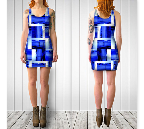 Suga Lane Jet Medley Royal Blue White Abstract Stretch Cocktail Dress