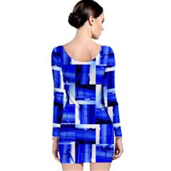 Suga Lane Jet Medley Royal Blue White Long Sleeve Cocktail Dress