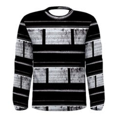 S. Lane Men Dirty Lil Secrets Black Gray Striped Long Sleeve Stretch Tee
