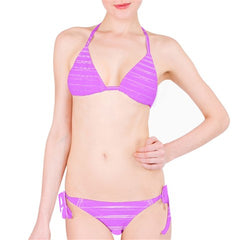 Suga Lane Retro Lilac Purple Faux Distressed Striped Bikini Swimsuit