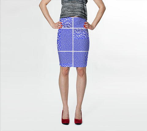 Suga Lane Tropical Blue White Check Stretch Pencil Skirt