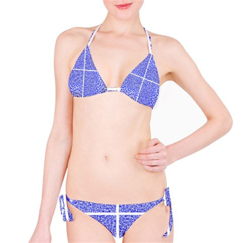 Suga Lane Tropical Isle Blue White Check Stripe Bikini Swimsuit