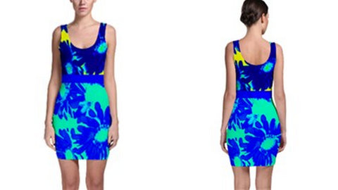 Suga Lane Tropical Floral Blue Yellow Turquoise Sleeveless Cocktail dress