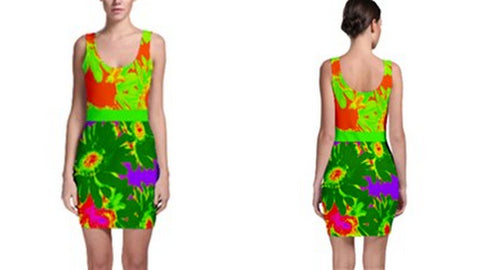 Suga Lane Tropical Floral Lime Green Purple Sleeveless Cocktail Dress