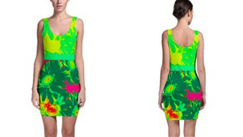 Suga Lane Tropical Floral Mint Green Yellow Pink Sleeveless Cocktail Dress