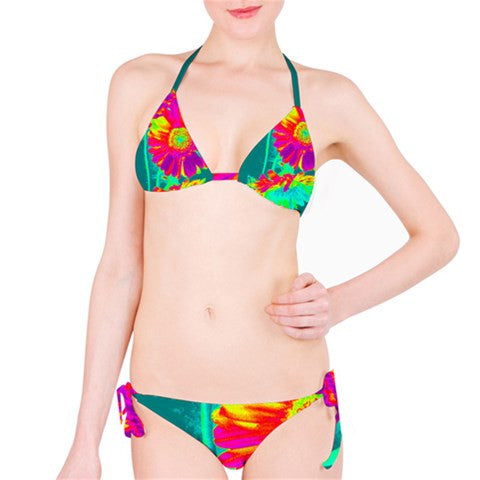 Suga Lane Tropical Floral Purple Green Orange Bikini Swimsuit