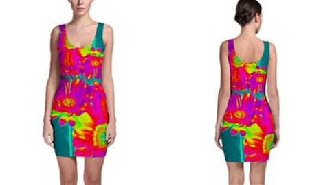 Suga Lane Tropical Floral Red Purple Green Yellow Sleeveless Cocktail Dress