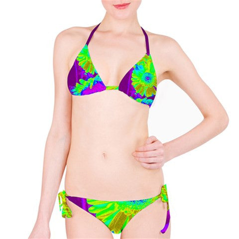 Suga Lane Tropical Floral Lime Green Purple Yellow Bikini Swimsuit