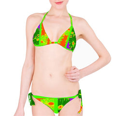 Suga Lane Tropical Floral Orange Lime Green Stripe Purple Bikini Swimsuit