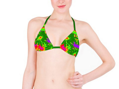 Suga Lane Tropical Floral Green Purple Orange Mid Waist Bikini top