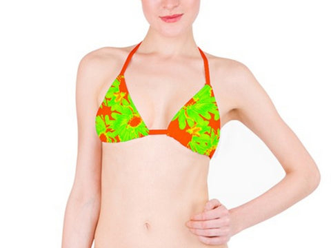 Suga Lane Tropical Floral Lime Green Orange Bikini Top