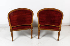 Hollywood Regency Red Velvet Bergere Armchairs Dining Chairs - Set of 4