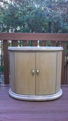 [SOLD] Pair of 2 Art Deco Modern Wood Travertine Cabinets