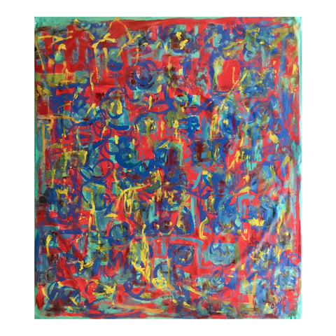 "[SOLD] Abstract Acrylic Painting, ""What Should I Do?"" by Alaina Suga Lane"