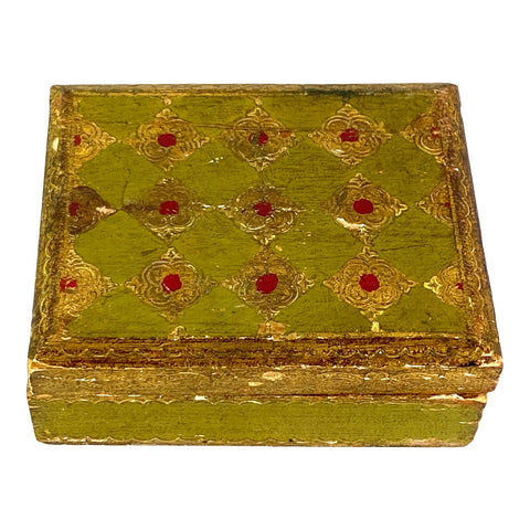 [SOLD] Antique Medieval Gothic Gold Small Wood Box