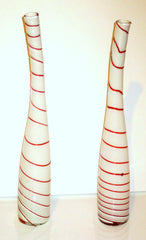 Art Glass Murano Glass White & Red Striped Peppermint Vases - A Pair