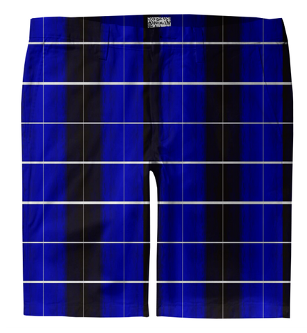 S. Lane Men Stripe Check Trouser Shorts - Blue Black White