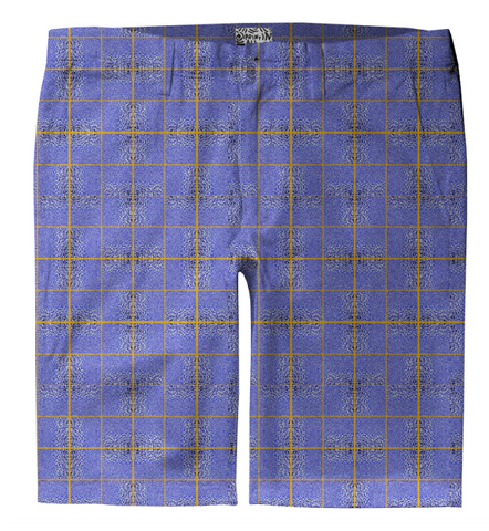 S. Lane Men Ocean Check Trouser Shorts - Light Blue