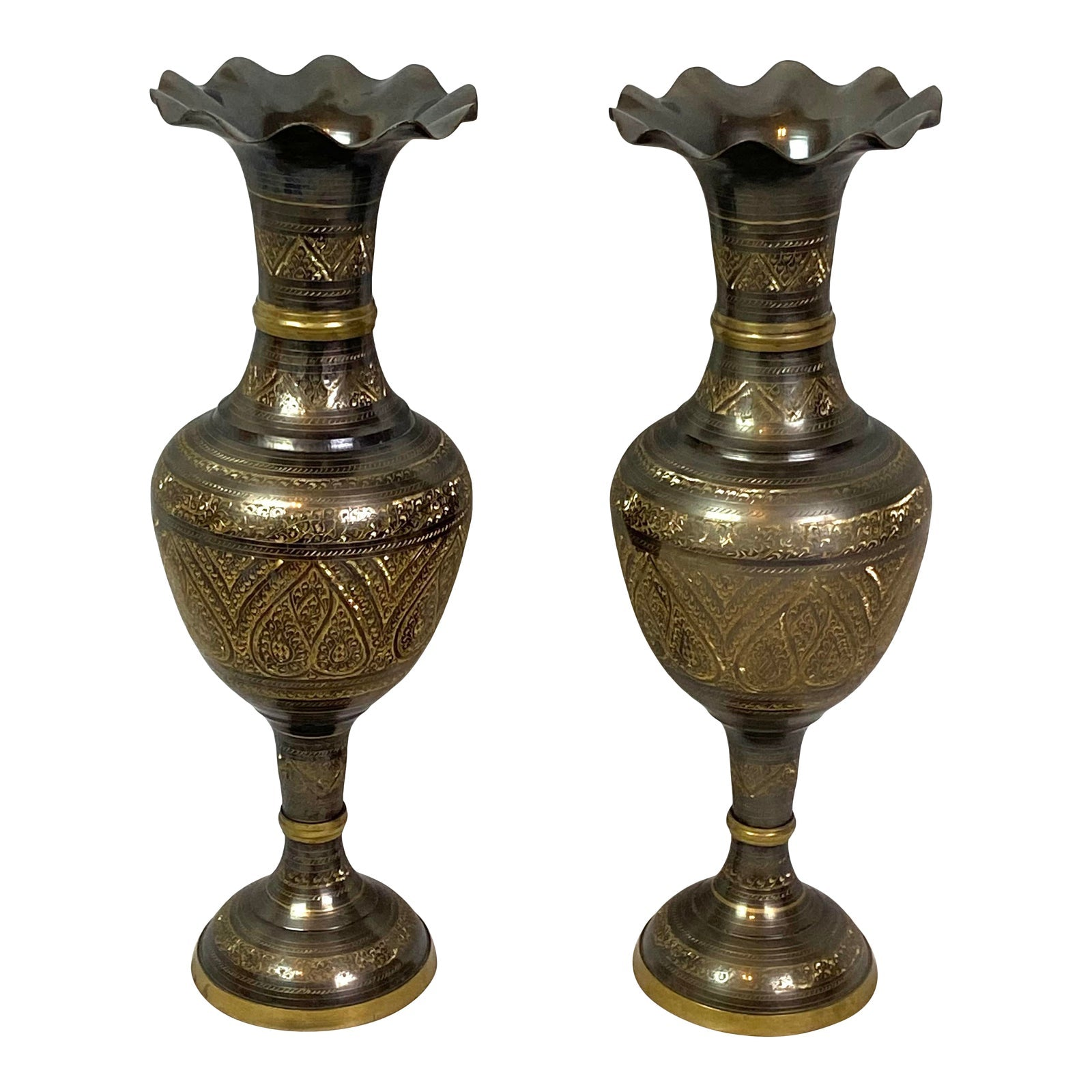Bronze Medieval Middle Eastern Urns Vases - Pair of 2