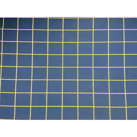 Classic MCM Blue Checks Wool Linen Upholstery Fabric Yardage
