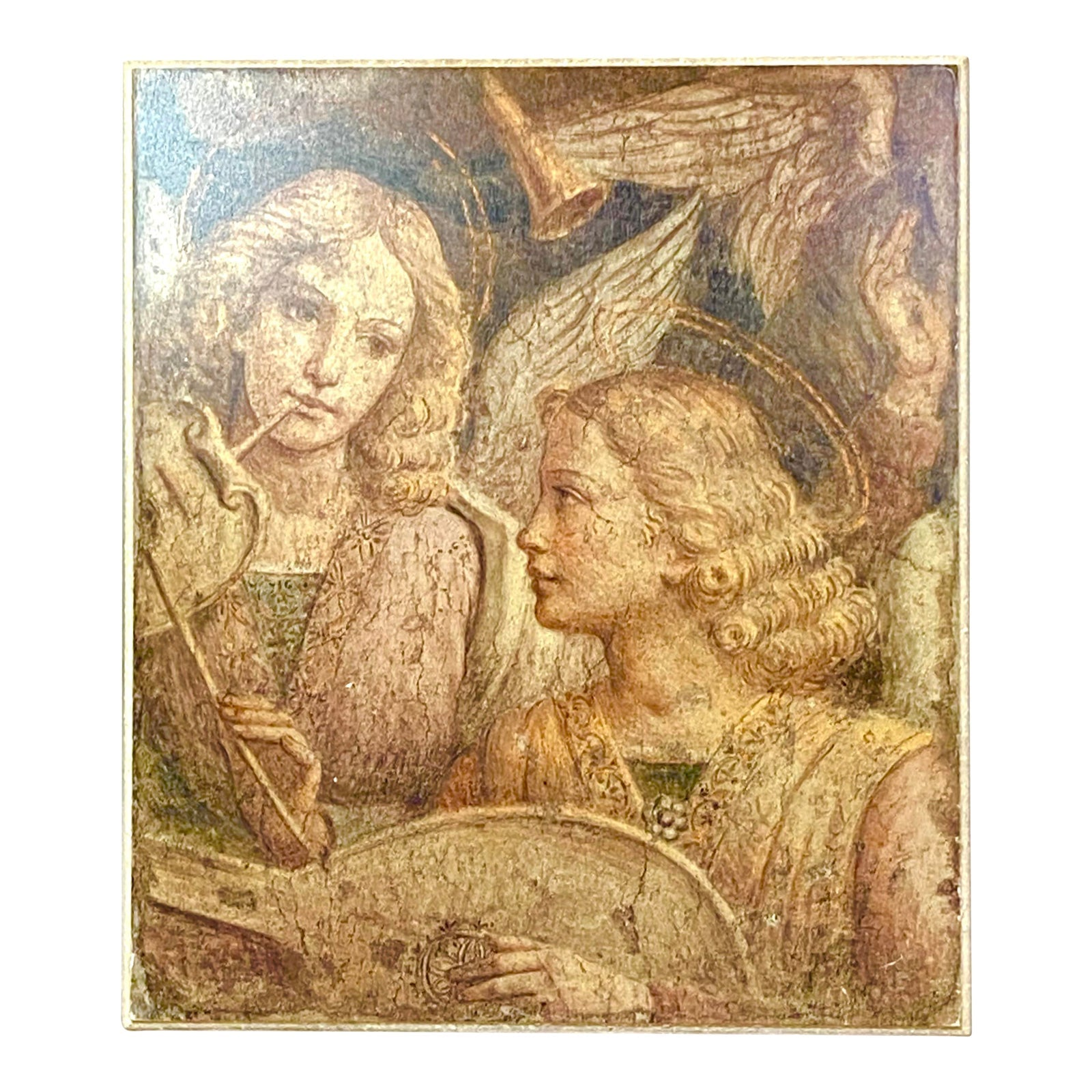 Classical Fresco of Two Cupid Muses Angels