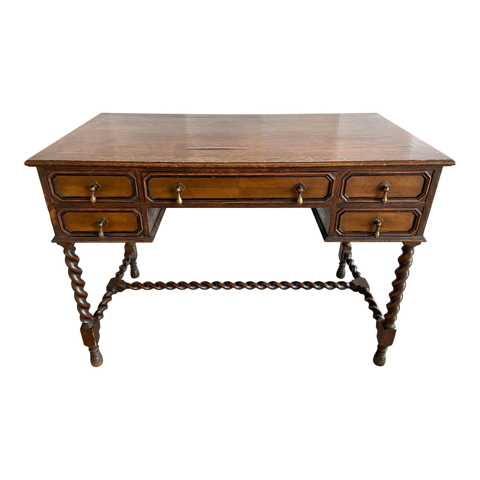 French Barley Twist Walnut Oak Brass Writing Desk