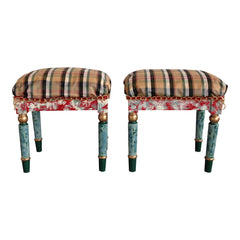 French Stools Plaid Hand Painted Gold - a Pair
