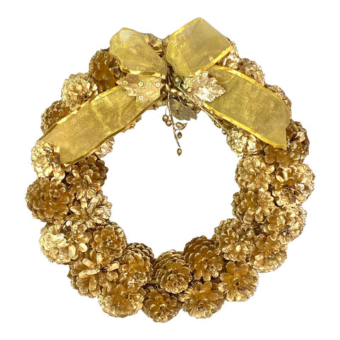 Gilt Gold Glitter Xmas Holiday Pinecone Wreath