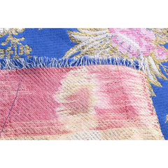 Gold Royal Blue Embroidered Floral Silk Brocade Textile