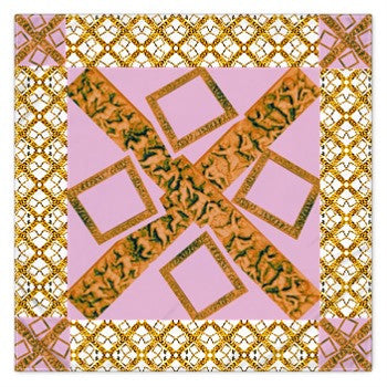 Suga Lane Gold White Logissimo Pink Signature Square Silk Scarf
