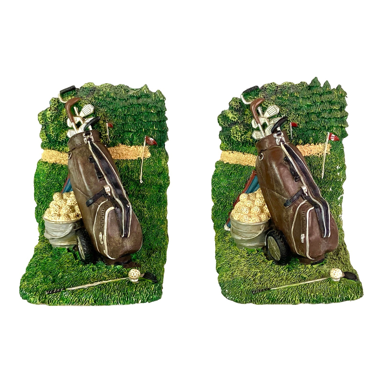Golf Sports Green Ceramic Bookends - Pair of 2