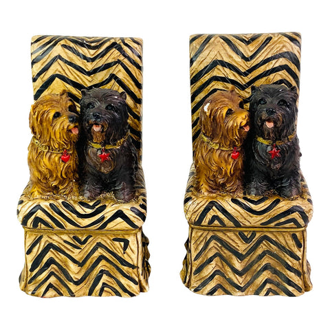 Hand Painted Porcelain Ceramic Dog Bookends – Set of 2