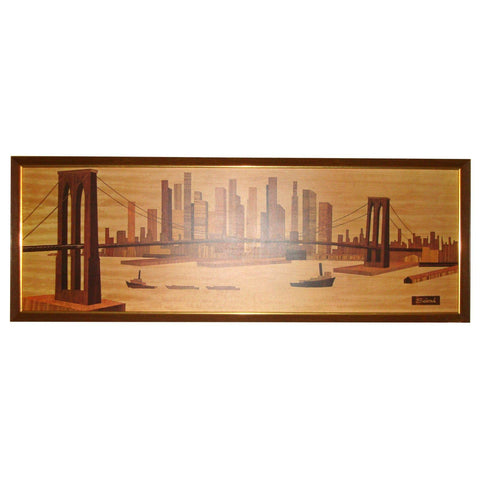 GREAT GIFT * VINTAGE MID-CENTURY ARTIST SEIVAD NEW YORK BROOKLYN BRIDGE WOOD CARVING PRINT SOFA PAINTING