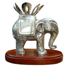 ANTIQUE STERLING SILVER ANGLO RAJ CARVED ELEPHANT TWIST OFF CANDLE HOLDER