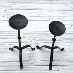 [sold] PAIR OF ANTIQUE PRIMITIVE WROUGHT IRON PRICKET CANDLESTICKS vintage