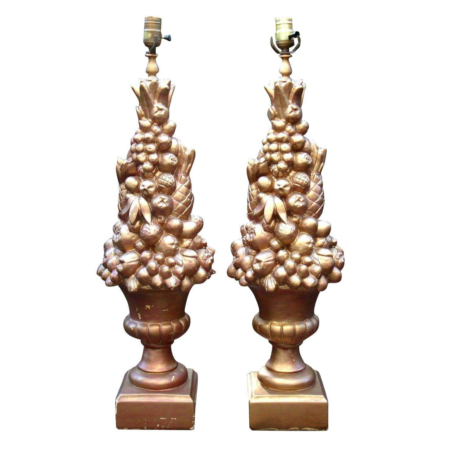 Monumental Hollywood Regency MONUMENTAL Art Deco GOLD FRUIT LAMPS - Pair of 2
