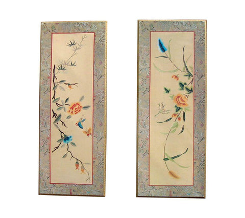 [Sold] PAIR OF 2 VINTAGE MID-CENTURY ASIAN BAMBOO GOLD PANELS ORIENTAL FLORAL BUTTERFLY