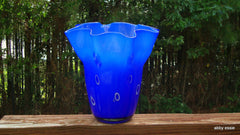 [SOLD] VINTAGE MURANO BLUE WHITE CIRCLES GLASS WAVY VASE WATER VESSEL