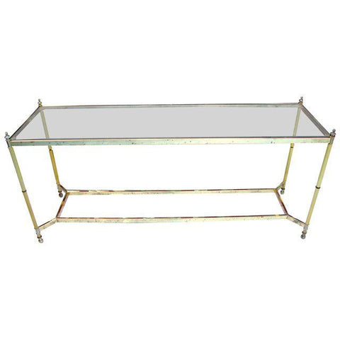 [Sold] VINTAGE HOLLYWOOD REGENCY MAISON JANSEN LA BARGE ART DECO BRASS GLASS TABLE