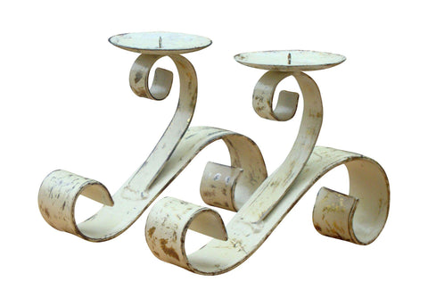 Vintage French Hand Painted Distressed Bronze Iron Candle Holders  - Pair of 2