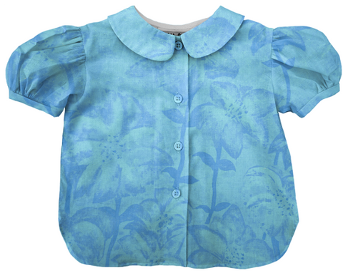turquoise blue floral fireworks blouse