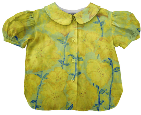 retro yellow floral fireworks blouse