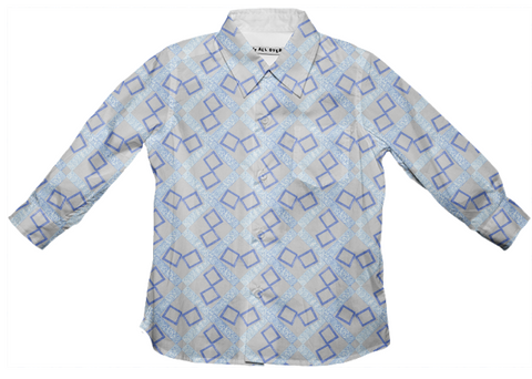 ice blue & gray logo button down shirt