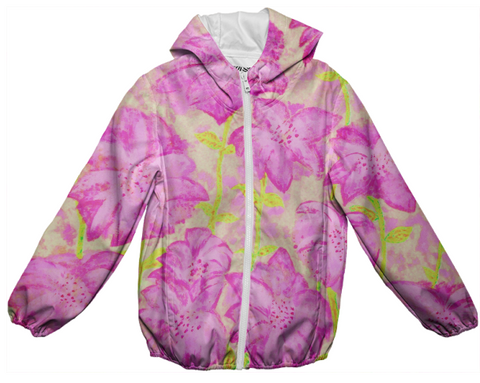 pink & yellow floral fireworks raincoat