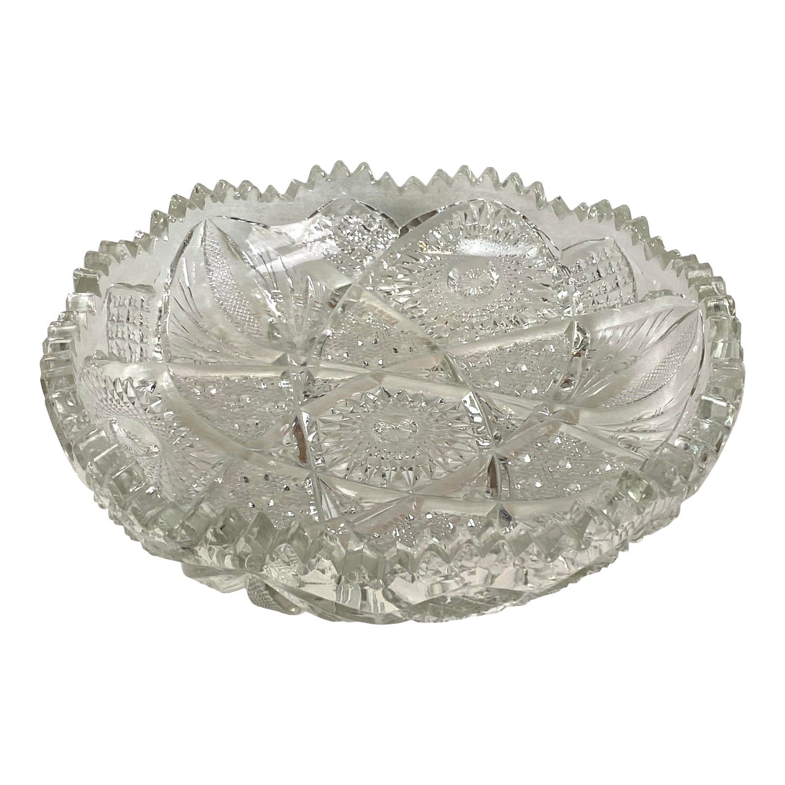 Large Ornate Crystal Cut Glass Serving Bowl Ashtray