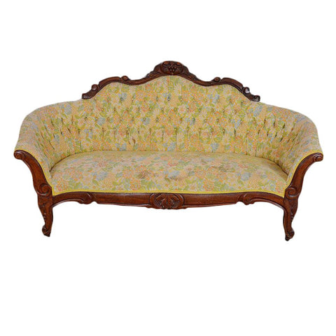 Late 19th Century Antique Walnut Victorian Tufted Sofa
