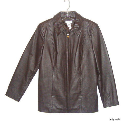 NWOT DARK BROWN LEATHER COAT 100% GENUINE LEATHER SZ SMALL NO BRAND LABEL