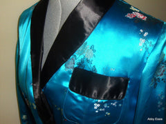 Vintage Blue Turquoise Satin Smoking Jacket Asian Brocade Floral